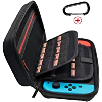 JABARY Nintendo Switch Case with 20 Game Holder New Design Hard Shell Travel Carrying Case Protective Storage Bag Pouch for Nintendo Switch Console Accessories Black