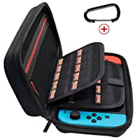 JABARY Nintendo Switch Case with 20 Game Holder New Design Hard Shell Travel Carrying Case, Protective Storage Bag Pouch for Nintendo Switch Console Accessories Black