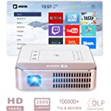 """AODIN Wow 3500 Lumens WiFi Smart HD Video Projector, Mini Portable LED DLP TV Projector, Stream 100000+ TV & Movies by Apps, 4K Supported, 300"""" HDR Display Professional for Home Theater and PC Game"""