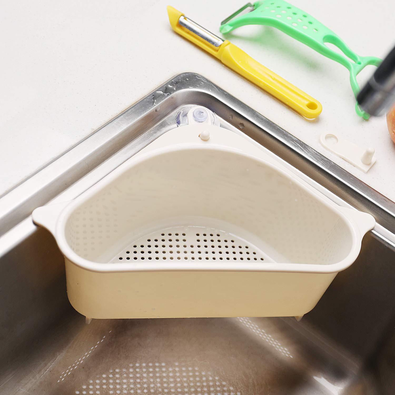Sink Basket, Triangular Multifunctional Drain Shelf Sink Storage Rack Kitchen Sucker Storage Holder Bathroom Support Corner Hanging Shelf Soap Box Organizer (Beige)