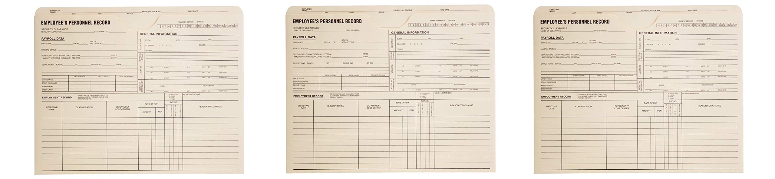 Quality Park, Employee Record Jacket, Manila, 11.75x9.5, 11pt, 100 per Box (69999) (Pack of 3) by Quality Park