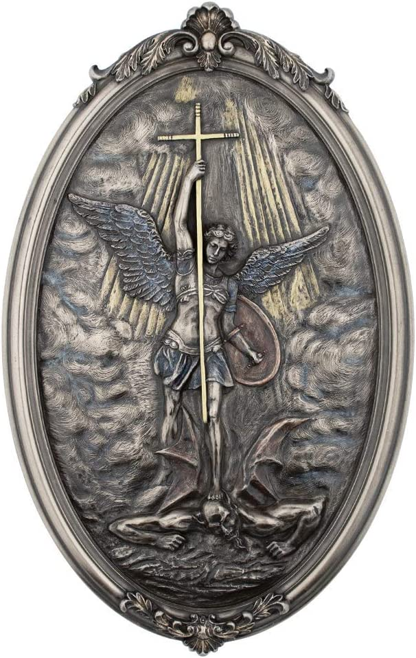 Studio Collection St. Michael The Archangel Wall Plaque | Patron Saint of Grocers, Military, and Police | Christian Home Goods