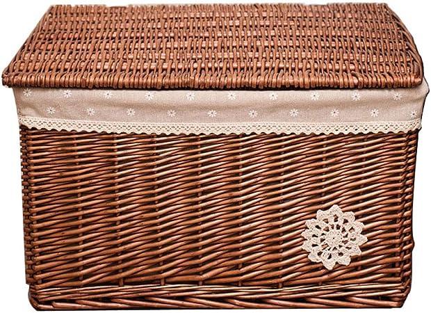 LYQZ Caja de Almacenamiento con Tapa, Caja de Almacenamiento de Mimbre Grande Cesta de Mimbre Caja de Almacenamiento 52 * 41 * 31cm (Color : Brown): Amazon.es: Hogar