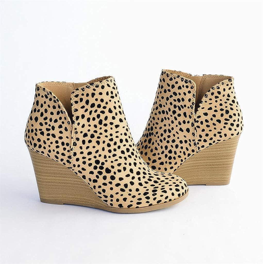 Gyouanime Womens Flat Wedge Platform Ankle Boots Zipper Shorts Boots Dress Shoes Leopard Ankle Zipper Short Bootie Shoes