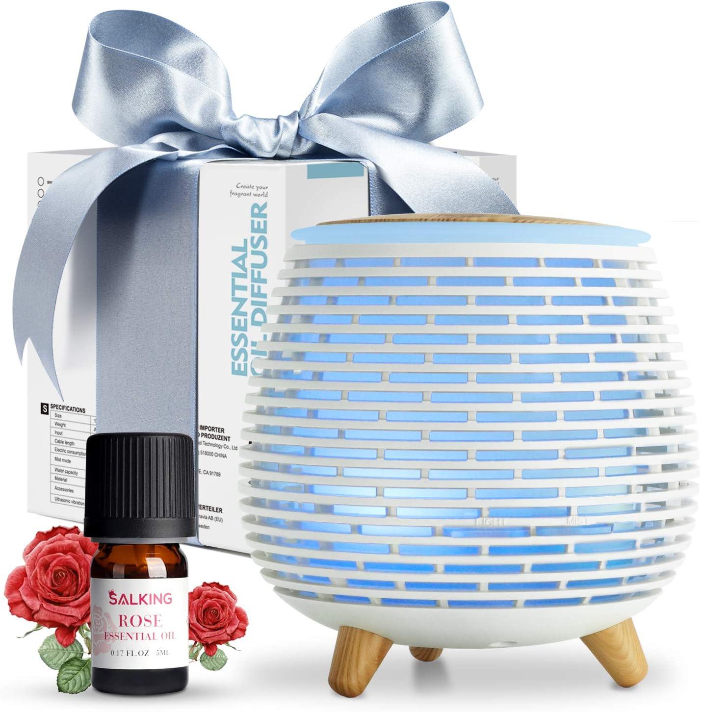 SALKING Humidificador Aceites Esenciales,Difusor de Aromaterapia con Rosa Aceite Esencial, Difusor Ultrasonico de Aceites Esenciales con LED de 7 Colores, 2 Modos Programados para Hogar,Oficina,Yoga