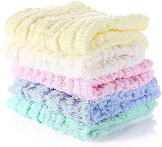 Hamkaw - Lote de 5 Toallas de Muselina para bebé, de algodón ...