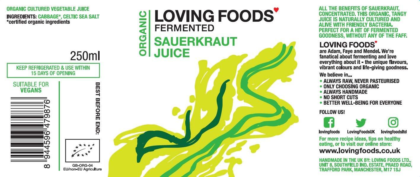 Loving Foods Orgánico Jugo Clásico de Chucrut (250ml) CRUDO | SIN PASTEURIZAR | VIVO (12 x Botellas)