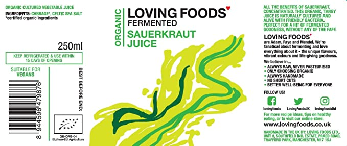 Loving Foods Orgánico Jugo Clásico de Chucrut (250ml) CRUDO | SIN PASTEURIZAR | VIVO (1 x Botella)