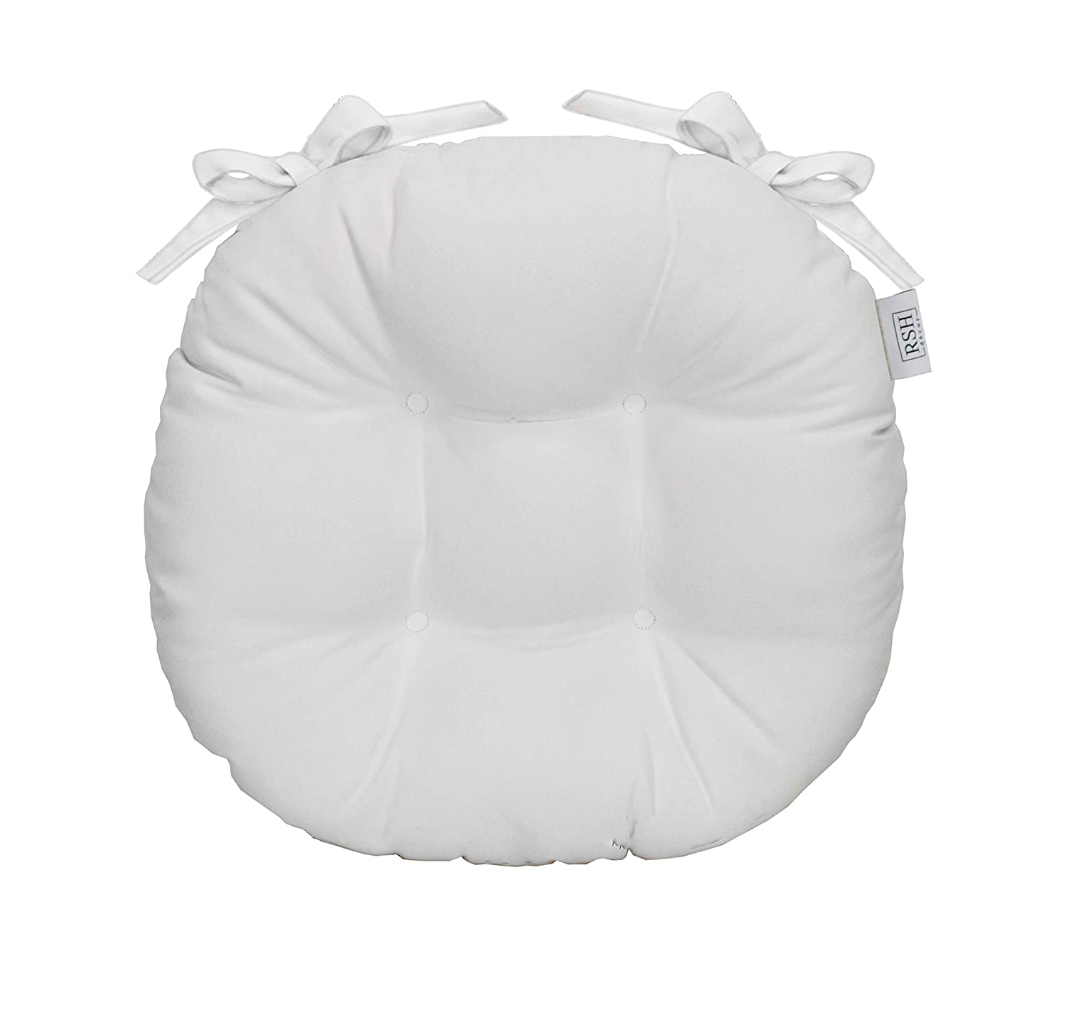 RSH Décor Indoor/Outdoor Round Tufted Bistro Chair Cushion with Ties - Made with Sunbrella Canvas White (14