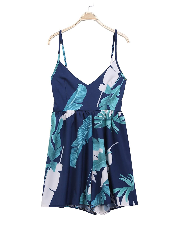 afffa0ed32c Amazon.com  Goodfans Floral Print Jumpsuit Romper Playsuit Women 2 Pieces  Suit Jumpsuit Romper Women Off Shoulder Jumpsuit Jumpsuits   Rompers   Clothing