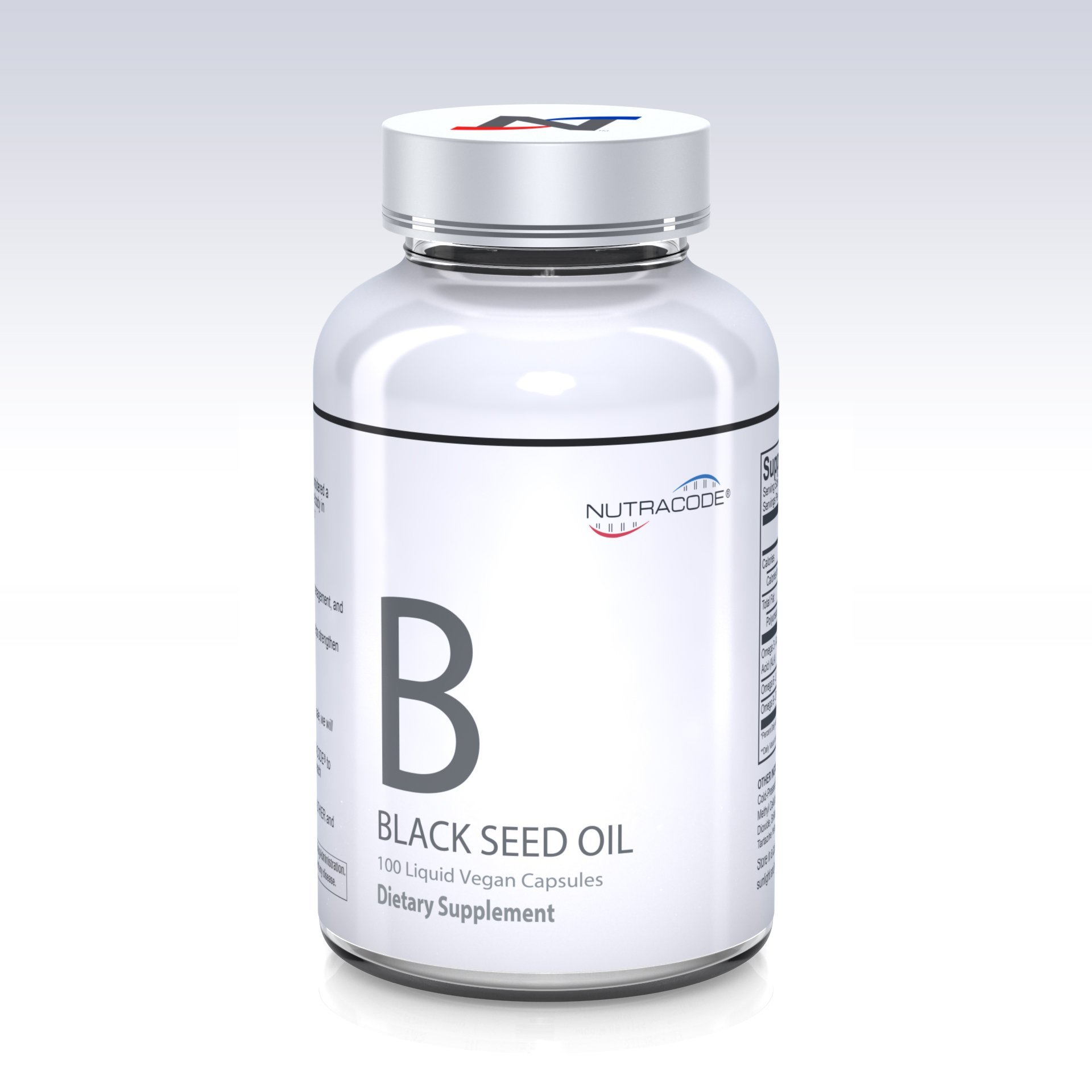 Nutracode® Black Cumin Seed Oil 500 mg 100 Liquid Vegan Capsules, Powerful Immune System Booster and Antioxidant (Cold-Pressed, Non-GMO)