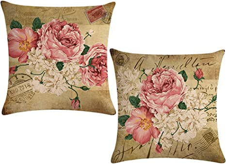 Ulove Love Yourself 2pack Retro Flower Throw Pillow Covers Peony Rose Home Decorative Pillow Covers Vintage Cushion Cases Square Pillowcase 18 Inch Pink White Flowers Home Kitchen