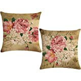 ULOVE LOVE YOURSELF 2pack Retro Flower Throw Pillow Covers Peony Rose Home Decorative Pillow Covers Vintage Cushion Cases Squ