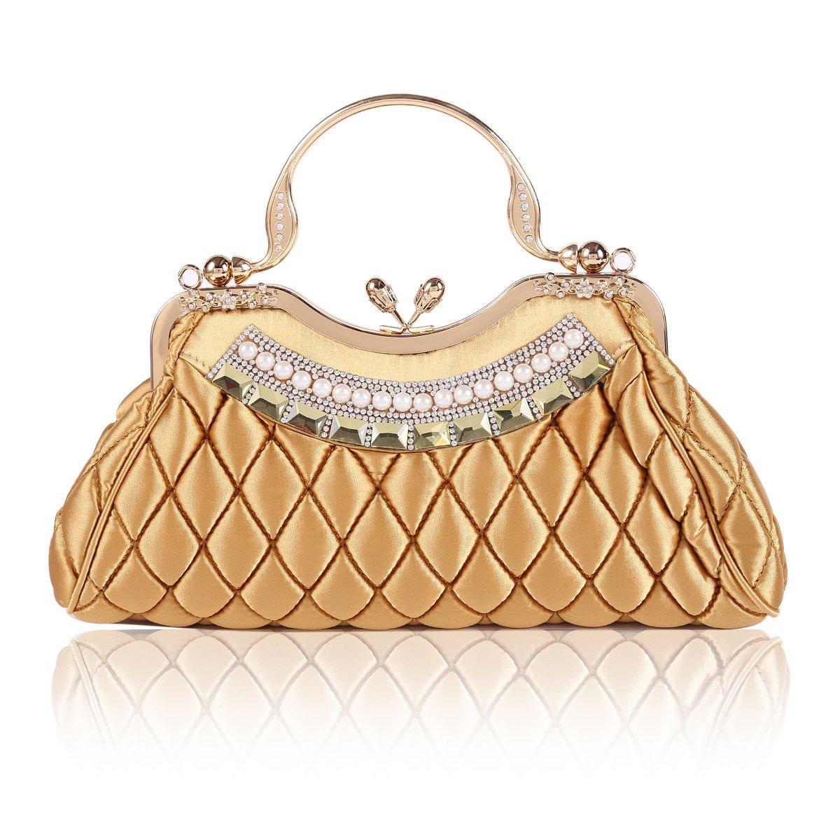 Damara Womens Kiss-lock Handbag Stitching Latticed Evening Bag,Gold