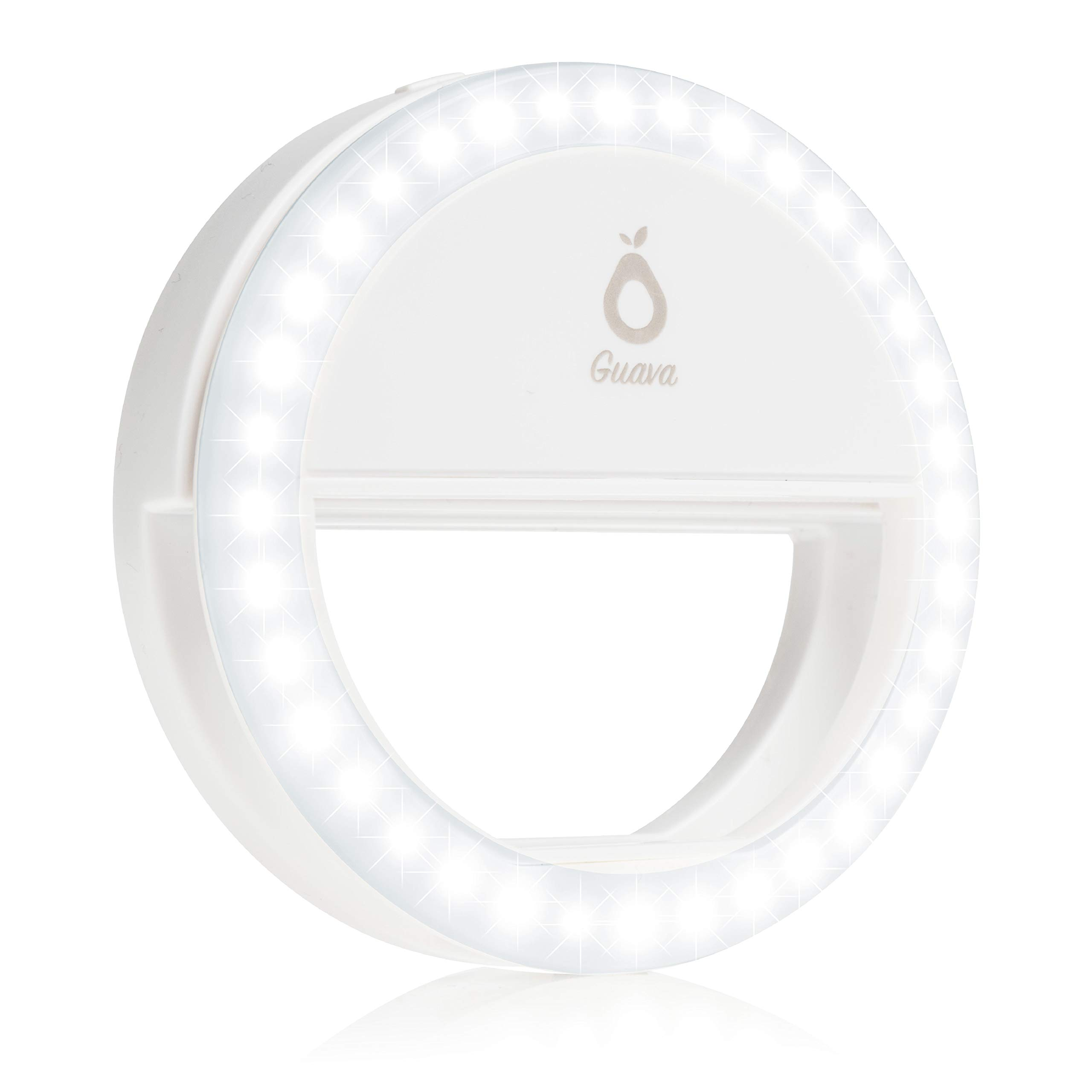 Selfie Ring Light with Rechargeable Battery - Adjustable Brightness with 36 LED - Portable Selfie Ring Circle for Selfies - Universal Phone Clip On - White by Guava