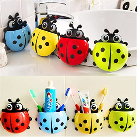 Amazon.com: Yamalans Creative Cartoon Ladybug Toothbrush Holder Suction Cup for Bathroom: Home & Kitchen