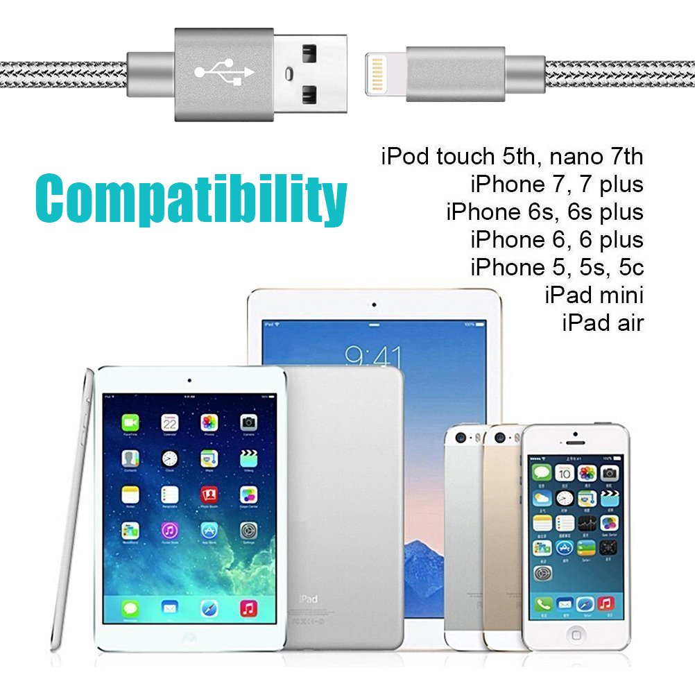 Youer Phone Cable 3Pack 10FT Nylon Braided USB Charging /& Syncing Cord Compatible with Phone X Phone 8 8 Plus 7 7 Plus 6s 6s Plus 6 6 Plus Grey