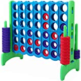 Giant 4 in A Row, 4 to Score - Premium Plastic Four Connect Game JUMBO 4 Foot Width or JUNIOR 3 Foot Width Set with 44 Rings