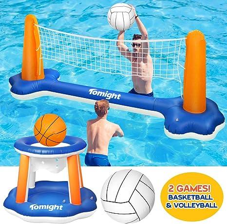 tomight Voleibol de Piscina Inflable Caja Fuerte Flotante, Juego ...