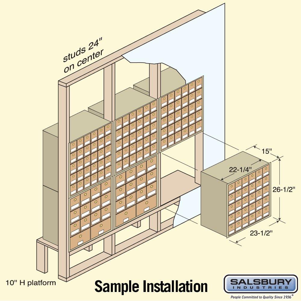 Salsbury Industries 2030RL  Mailbox, 30 Doors, Rear Loading, Brass