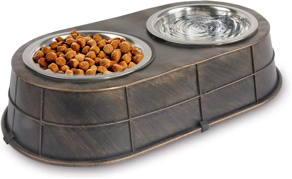 All for Paws Elevated Dog and Cat Feeder, Non Slip Double Pet Bowls for Food and Water 32 oz