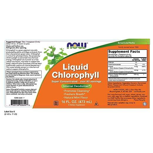 NOW Supplements, Chlorophyll, Mint, Liquid, 16-Ounce
