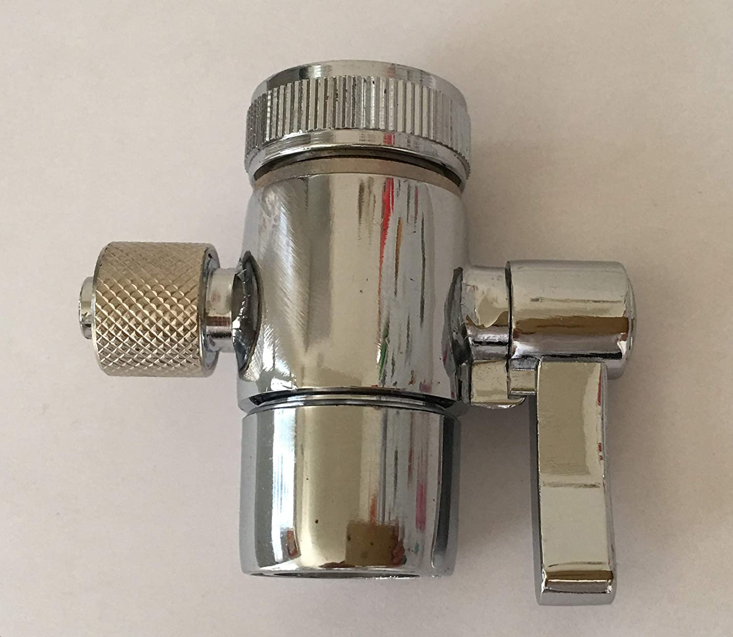 Malida diverter valve for counter top Water Filters Faucet Adapter, 1/2 inch female thread with push on 3/8 inch tubing.