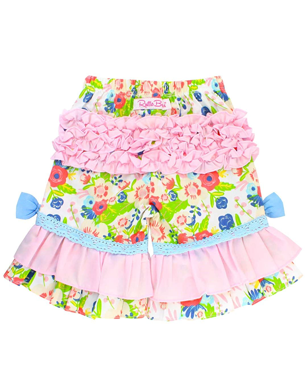 RuffleButts Little Girls Floral Print Ruffled Capri Pants RCWYYXX-CPRI-SC-TDLR