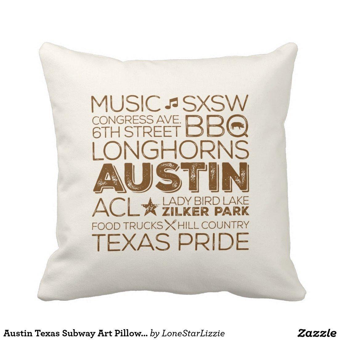 ArtoutletMF austin texas subway art pillow brown bluesky5051 18 X 18 inch