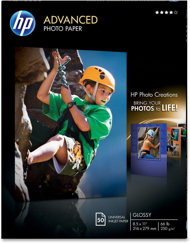 HP Glossy papel fotografico para Inkjet, 8.5 x 11 Inch, 50