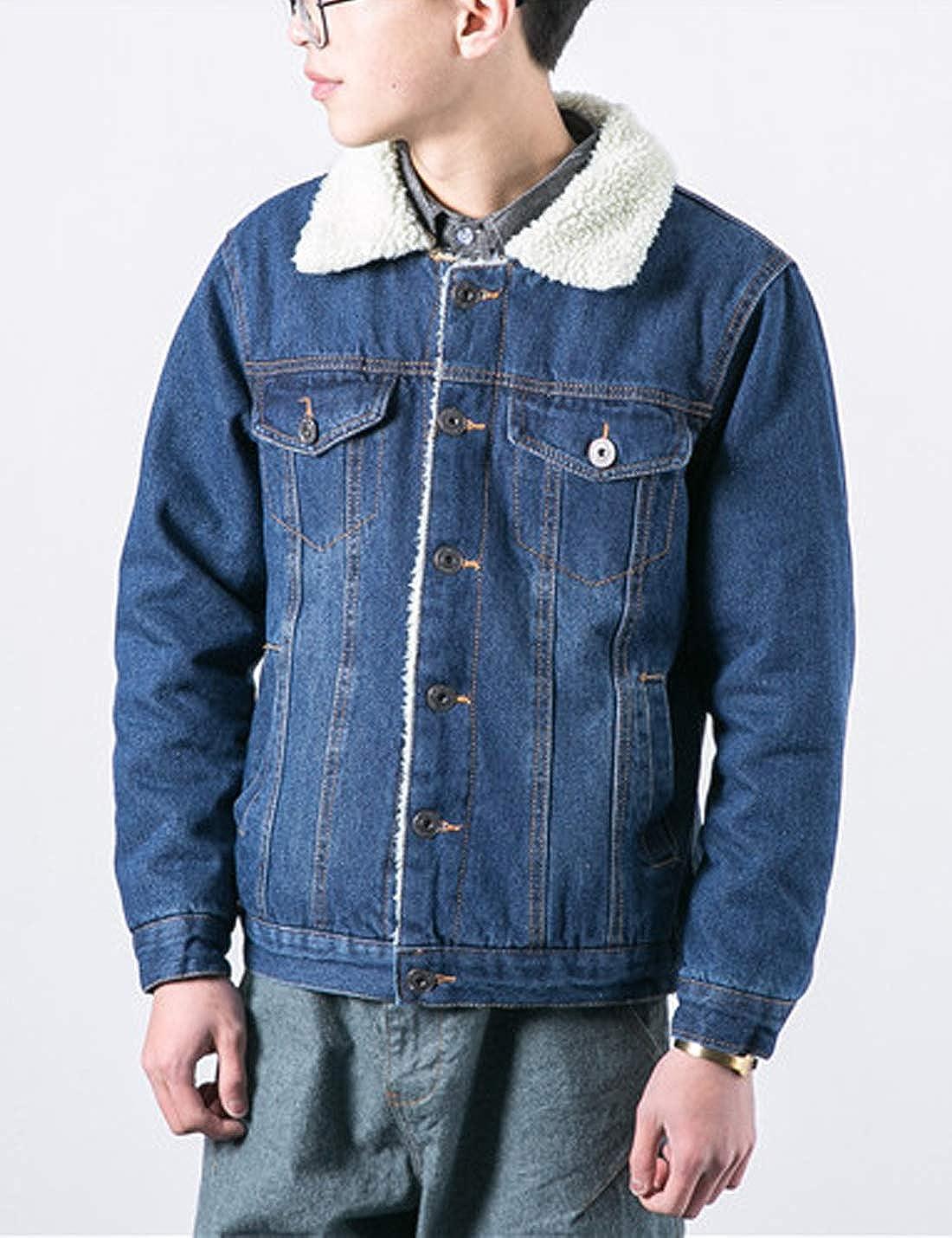 Yeokou Mens Vintage Slim Sherpa Lined Shearling Corduroy Trucker Jacket