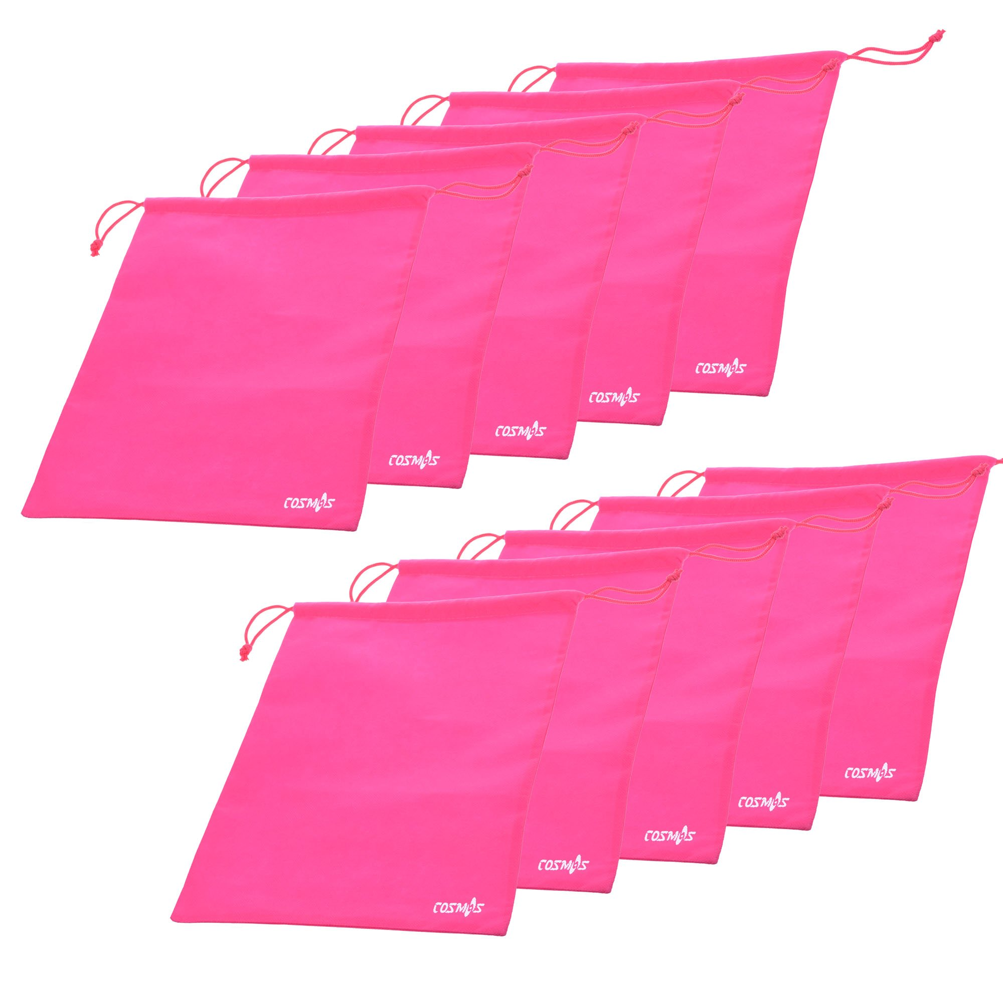 Cosmos ® 10 Pcs Women's Hot Pink Non-Woven Drawstring Shoe Bags for Travel Carrying, 13-3/4 x 11 Inches by Cosmos (Image #1)