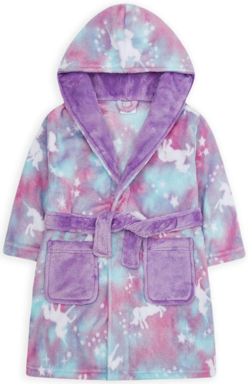 JollyRascals Girls Unicorn Dressing Gown Kids New Rainbow Ombre Hooded Fleece Robe Soft Touch Bathrobe Purple Nightwear Ages 2 3 4 5 6 7 8 9 10 11 12 13 Years