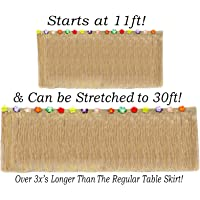 Anapoliz Hawaiian Table Skirt 11ft Long Stretches to 30ft! | (29″ Tall) Brown Grass Table Skirts | Hibiscus Luau Party Decoration | Tropical Theme Decor (1 Table Skirt)