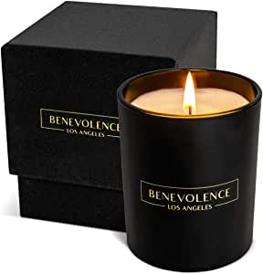 Benevolence LA Scented Candles Aromatherapy - All Natural Soy Wax Strong Fragrance of Rose Sandalwood Jasmine Bergamot with Matte Black Glass Gift Boxed Oud Wood