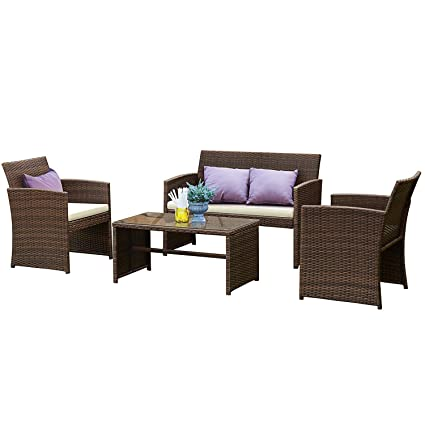 Tangkula Patio Furniture Set 4 Piece Outdoor Rattan Wicker Sofa Cushioned Seat Garden Lawn Poolside Sectional Conversation Set With Glass Top Coffee