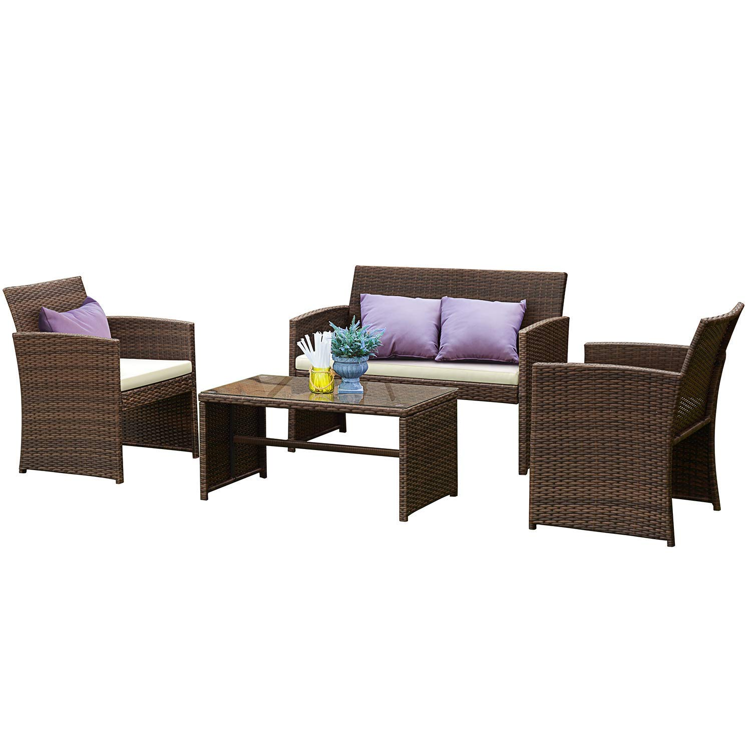 Tangkula Patio Furniture Set 4 Piece Outdoor Rattan Wicker Sofa Cushioned Seat Garden Lawn Poolside Sectional Conversation Set with Glass Top Coffee Table, Wicker Furniture