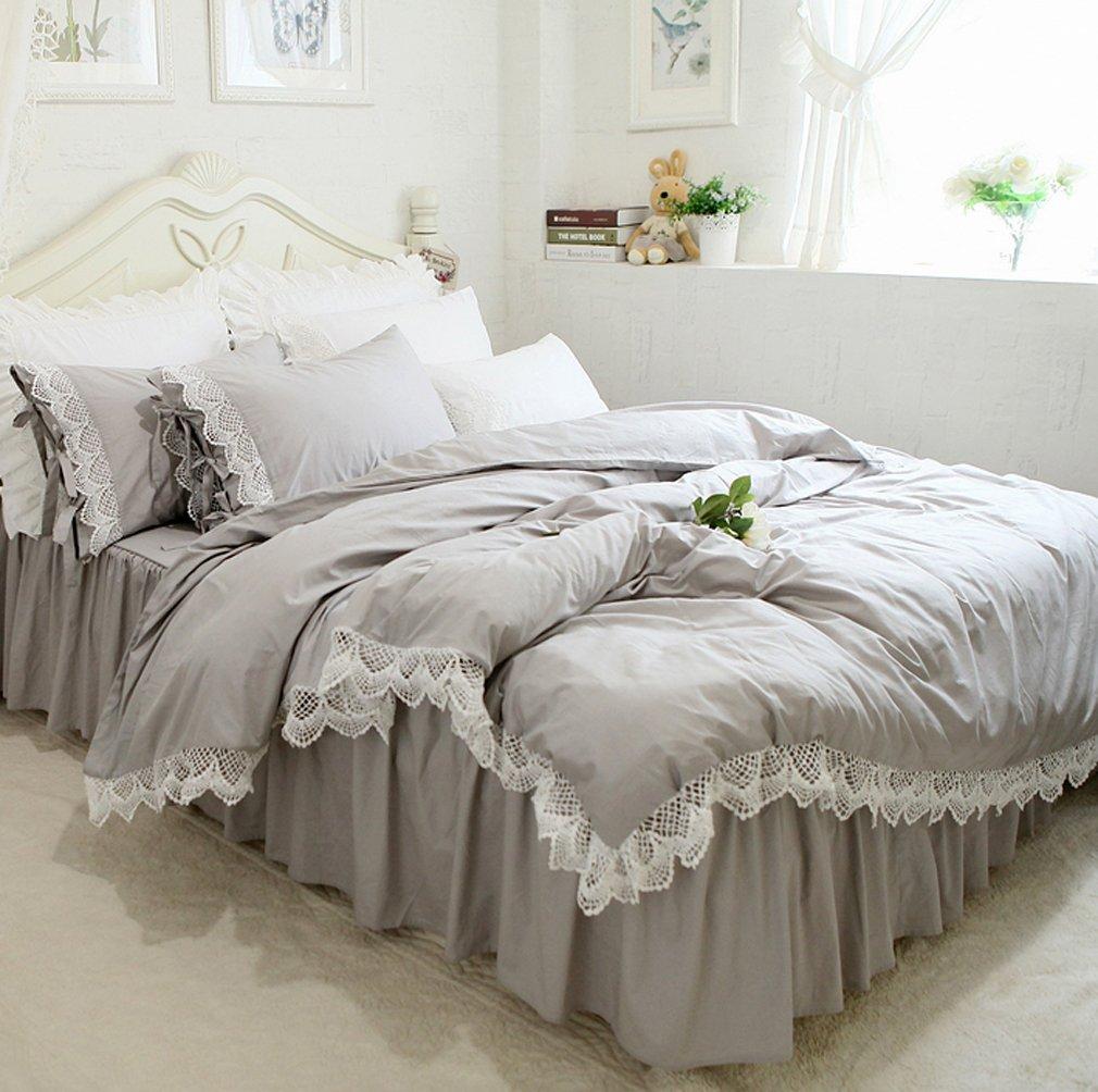 ホワイトレース付き グレーの無地 綿100%掛け布団カバーと枕カバーとベッドスカート ダブル B076ZKZ9VD ダブル|グレー グレー ダブル