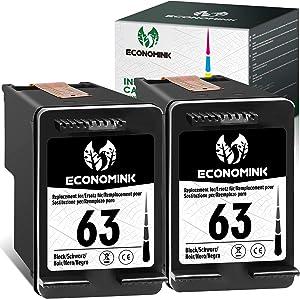 Economink Remanufactured Ink Cartridge Replacement for HP63 HP 63 Black for HP Envy 4520 4512 4511 4510 OfficeJet 3830 5255 5258 4650 4655 4652 5255 5252 DeskJet 1111 1112 2130 2131 3630 (2-Pack)