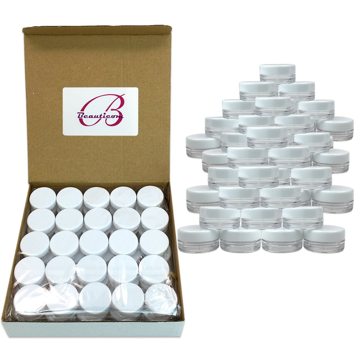 (Quantity: 2000 Pcs) Beauticom 3G/3ML Round Clear Jars with White Lids for Powdered Eyeshadow, Mineralized Makeup, Cosmetic Samples - BPA Free