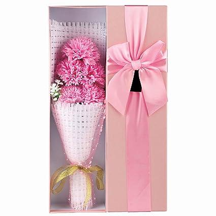 kufox5pcs/caja romántico rosa jabón de Carnations Flower con bonito, grandes regalos para el
