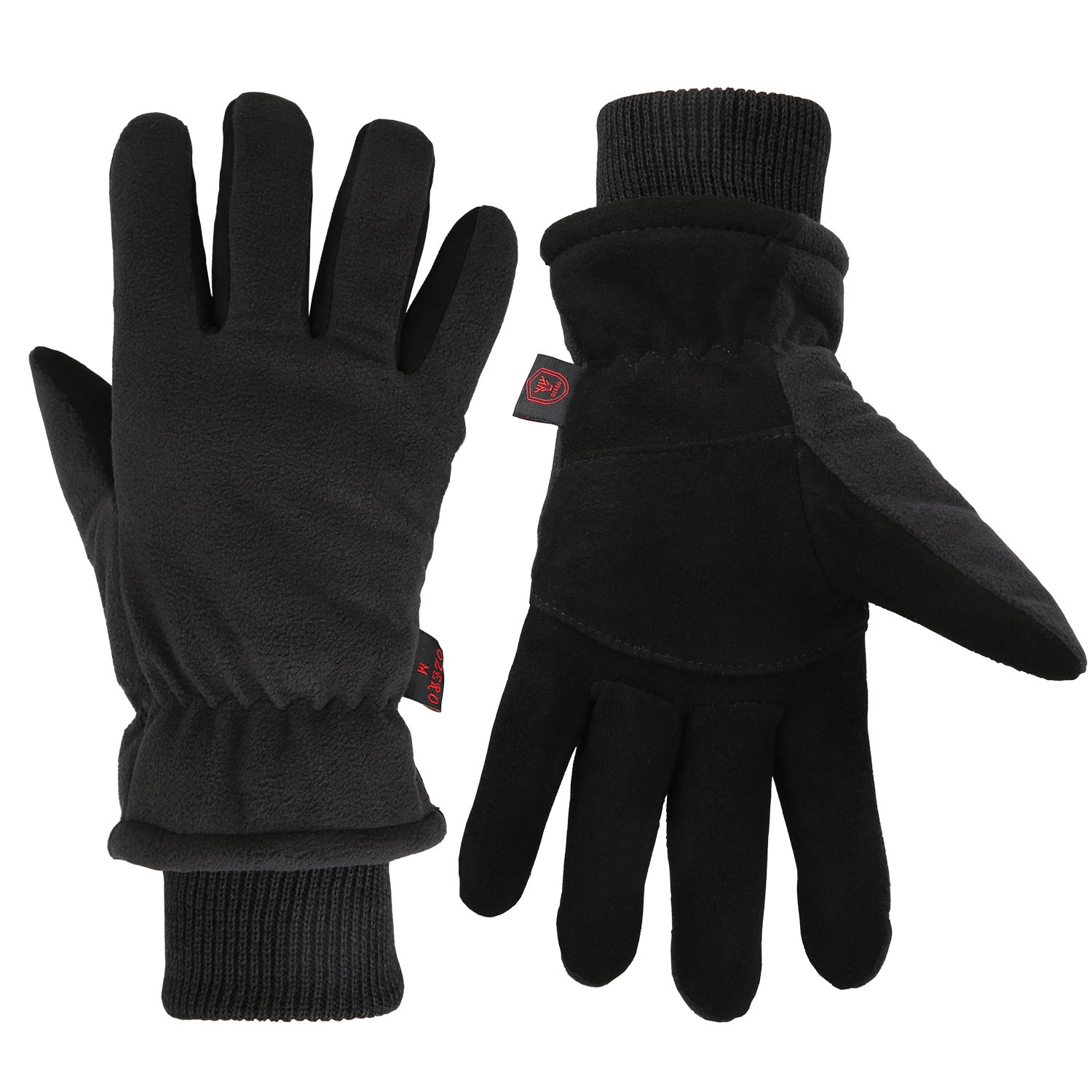 Men Winter -20°F Cold Proof Thermal Gloves, Deerskin Suede Leather Palm & Fleece