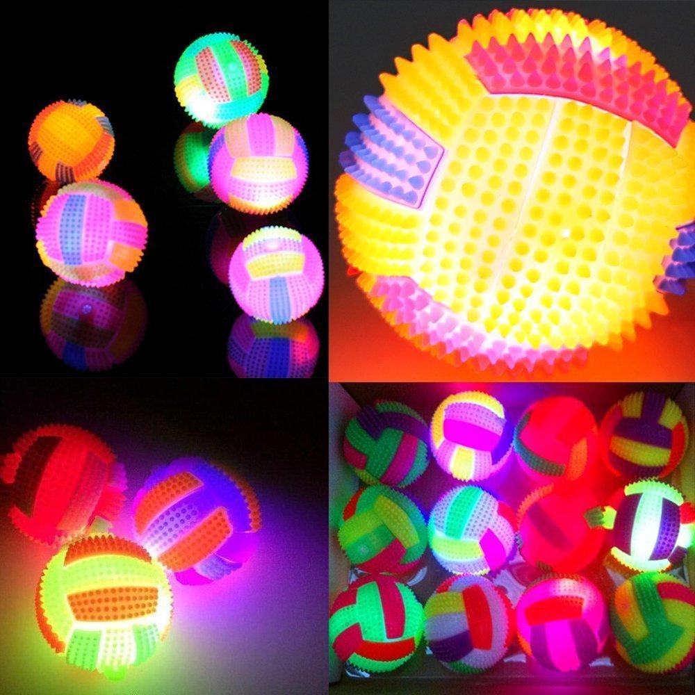 Legendog 3 Pcs Light Dog Ball Plastic Dog Glow ball Pet Bite Toy with Sound Night Dog Ball