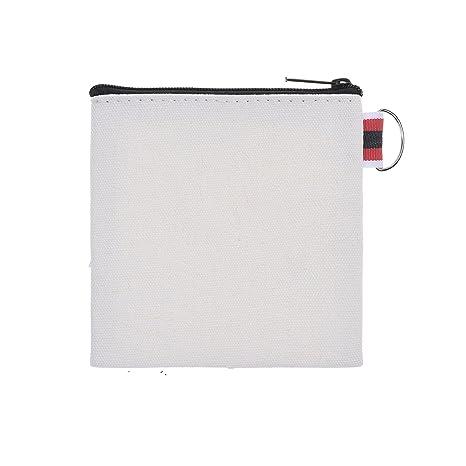 20pcs blanco PLAIN Small de tela con cremallera monedero carteras clave cartera bolsa de almacenamiento para