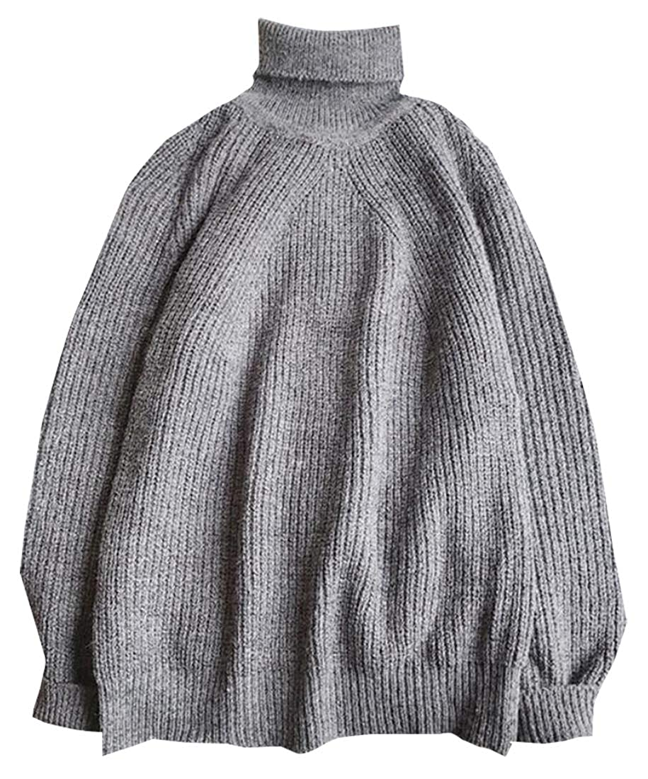Generic Mens Long Sleeve Casual Turtleneck Knitted Twisted Pullover Sweaters