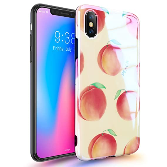 best sneakers c3cc4 02ef1 iPhone X Case with Shining Pattern Design, GVIEWIN Glossy Soft & Flexible  Silicone Ultra-Thin Shockproof Rubber Cover for iPhone X (Peach/Pink)