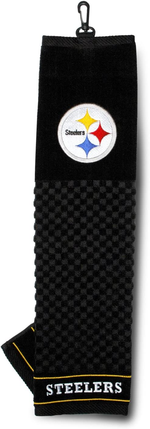 Team Golf NFL Pittsburgh Steelers Embroidered Golf Towel, Checkered Scrubber Design, Embroidered Logo : Sports Fan Hand Towels : Sports & Outdoors