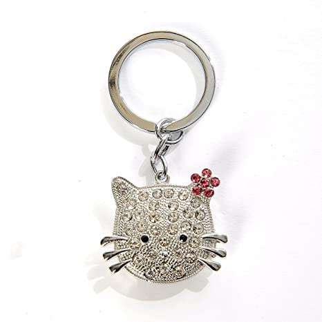 Llavero dorado Hello Kitty Linda Kitty con diamandes y lazo ...