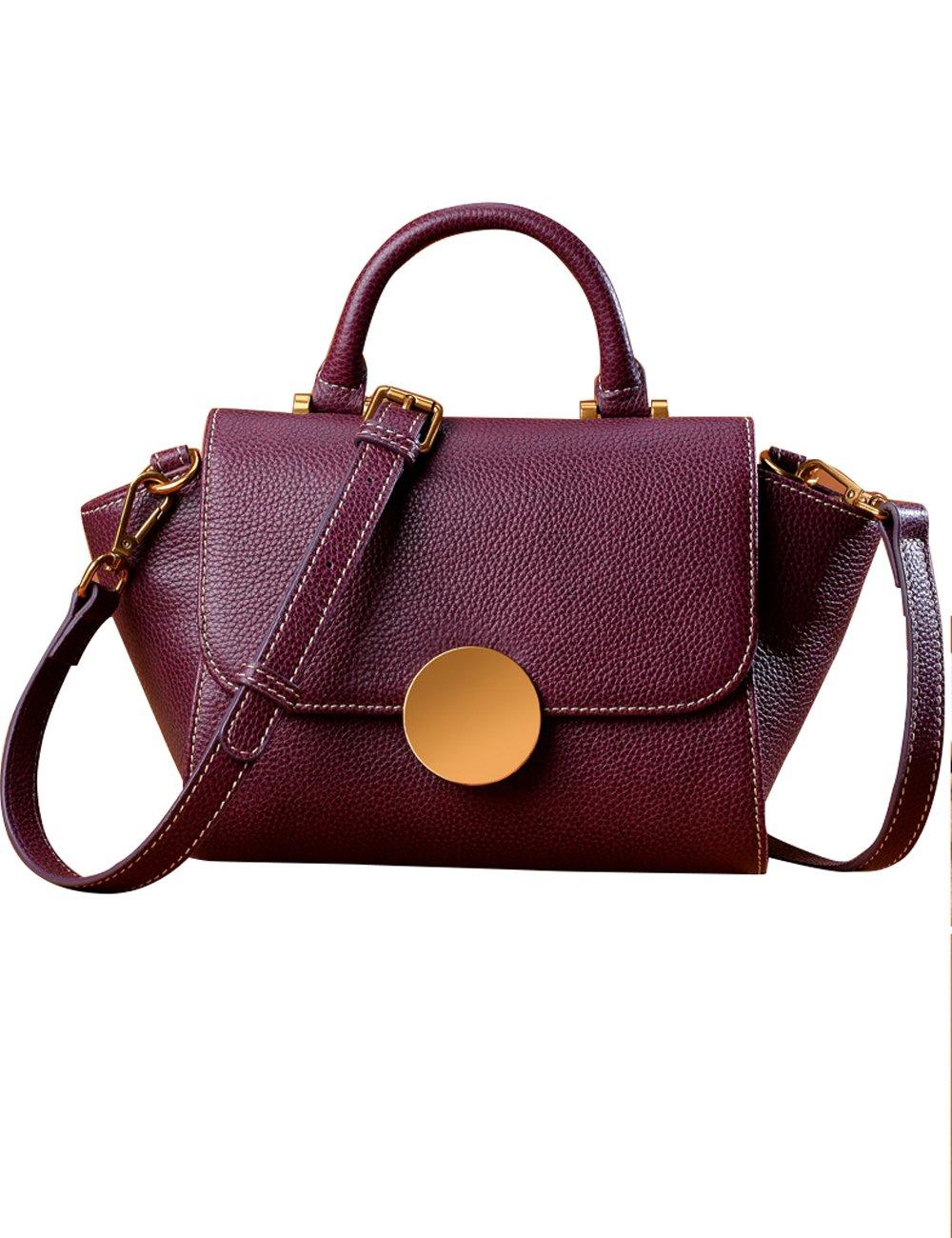 Menschwear Womens Genuine Leather Handle Crossbody Wings Bag(Purple)