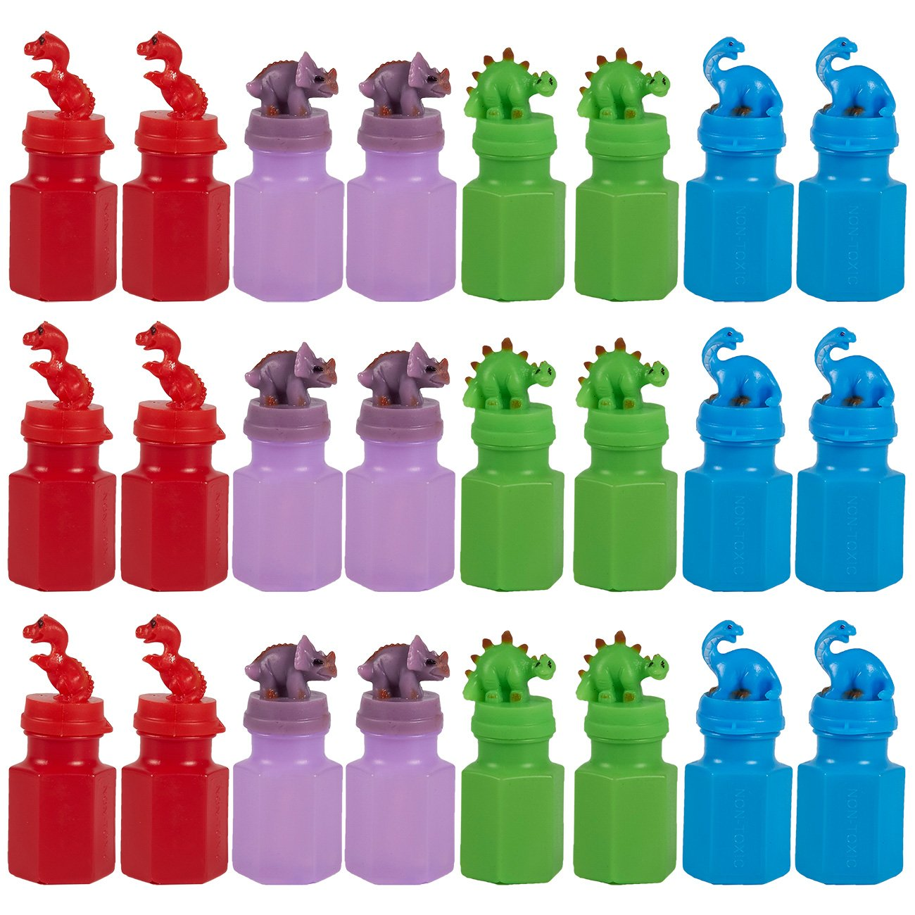 24 Pack Party Favors for Kids Dinosaur Party Supplies Play Bubbles Bubble Wand Party Supplies for Kids Parties Celebrations Birthdays 4 Colors 17.4ml 0.6oz 1.25 x 3 x 1.25 Inches